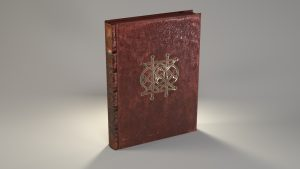 Un livre ancien réalisé en 3D par PYAP. On y voit le monogramme de Peiresc.