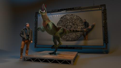 Dilophosaurus et son sculpteur.