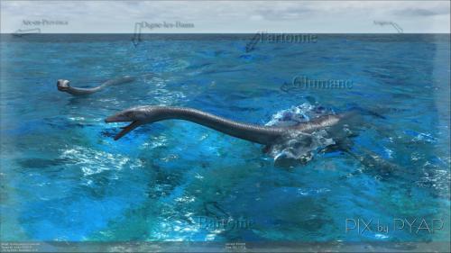 Élasmosaurus en mer, au-dessus de ce qui sera 120 millions d'années plus tard, la région de Digne les Bains.
