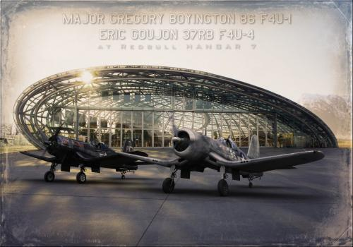 F4U1 Boyington et F4U4 37-RB. RedBull Hangar7.