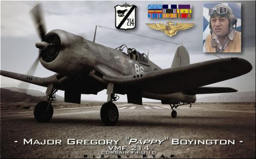 Major Gregory Boyington. Hommage-VMF-214