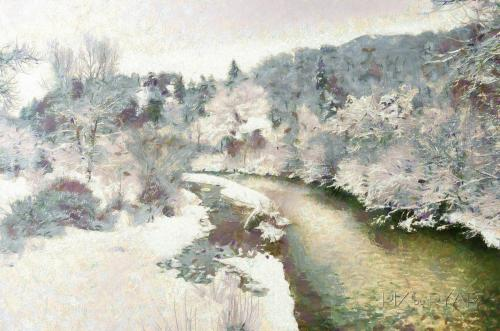 Barrême, depuis la Passerelle sur l'Asse, Claude Monet Style.