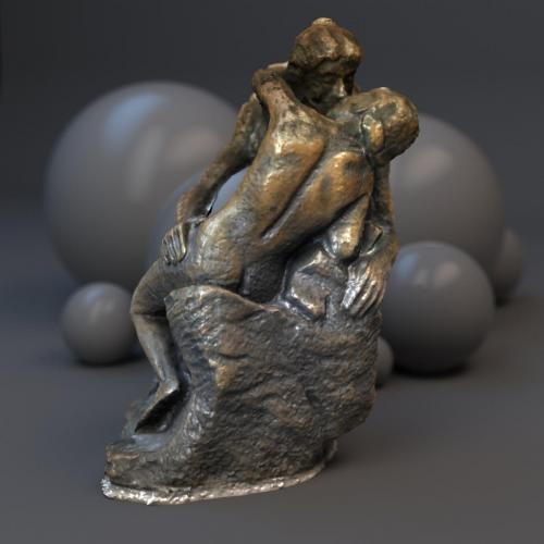 Le Baiser, Auguste Rodin. C4D & VRAY. D'après une statuette en bronze de 12cm.