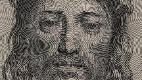La Sainte-Face du Christ, gravure de Claude Mellan. Détail sur le début de la gravure, sur la pointe du nez. Aucune ligne ne se croise !