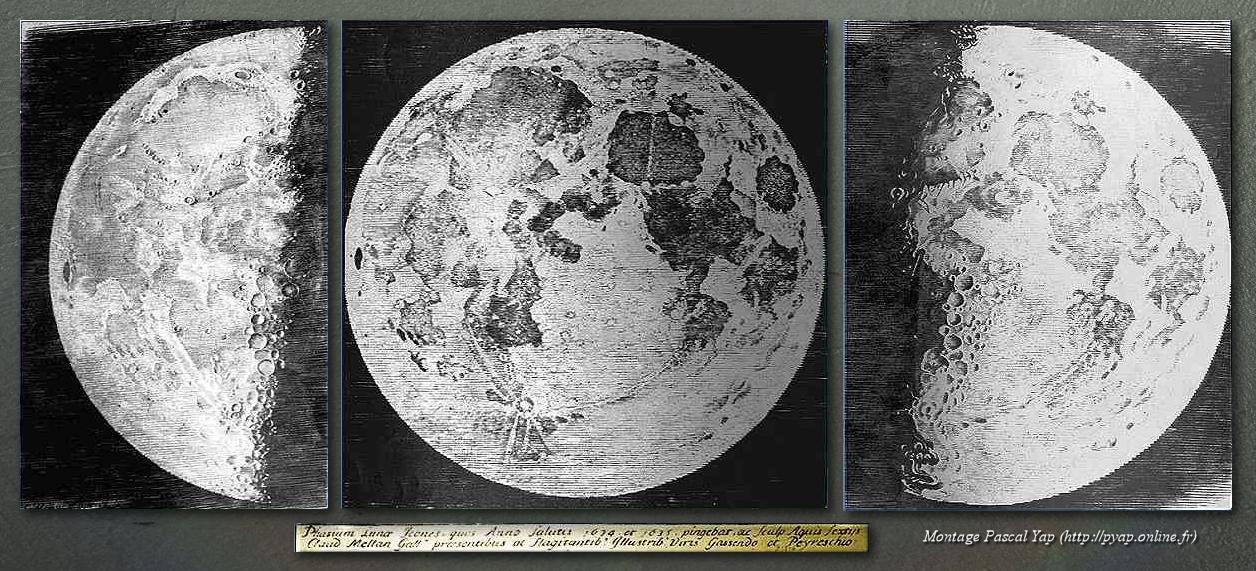 Gravures de la Lune, par Gassendi, Peiresc et gravé par Claude Mellan. (montage PYAP)