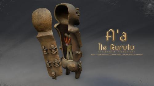 A'a de Rurutu de dos, montrant l'ouverture permettant de placer ossements de défunt et offrandes. (disposition non vérifiée)