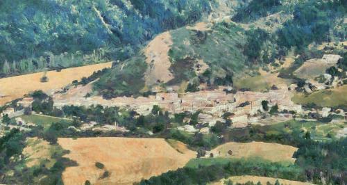 Barrême depuis la montagne de Lieyes (154cm x 82cm) Claude Monet Style.