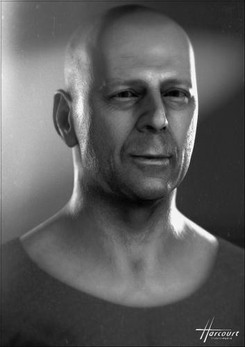 Bruce Willis, style studio photo Harcourt (Paris)