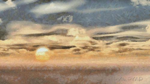 Coucher de Soleil, à la manière de Camille Pissaro.