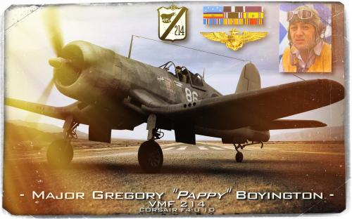 Major Gregory Boyington. Hommage à la VMF-214.